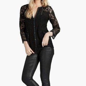 Lucky Brand Black Lace Button Down Blouse